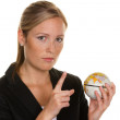 Women with a globe in his hand — Stock Photo #8191016
