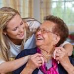 Grandchildren visited grandmother — Stock Photo #8191071