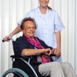 Nurse and the old woman in a wheelchair — Stock Photo #8191123