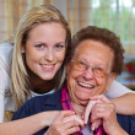Grandchildren visited grandmother — Stock Photo