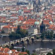 Prague, city view from petrin lookout tower - Stock Photo
