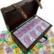 Chest with euro banknotes. financial crisis, crisis, debt. — Stock Photo