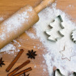 Baking cookies and biscuits for christmas — Stock fotografie #8196147