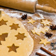 Baking cookies and biscuits for christmas — Stok fotoğraf