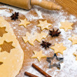 Baking cookies and biscuits for christmas — Stock fotografie #8196176