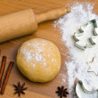 Baking cookies and biscuits for christmas — Stock fotografie #8196177
