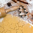 Baking cookies and biscuits for christmas — Stock fotografie #8196179