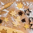 Baking cookies and biscuits for christmas — Stockfoto