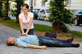 Cardiac massage. first aid for heart attack — Stok fotoğraf