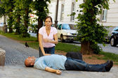 Cardiac massage. first aid for heart attack — Stock Photo