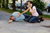 Husband has vertigo or heart attack — Stock Photo