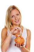 Young woman, to save money. euro sham — Stock Photo