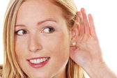 Young woman at the listening — Stock Photo