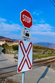 Railroad crossing without barriers — Stock Photo