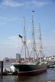 Port of hamburg, rickmers museum ship rickmer — Stock Photo