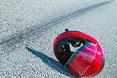Accident with a motorcycle. traffic accidents with skid marks on — Stok fotoğraf