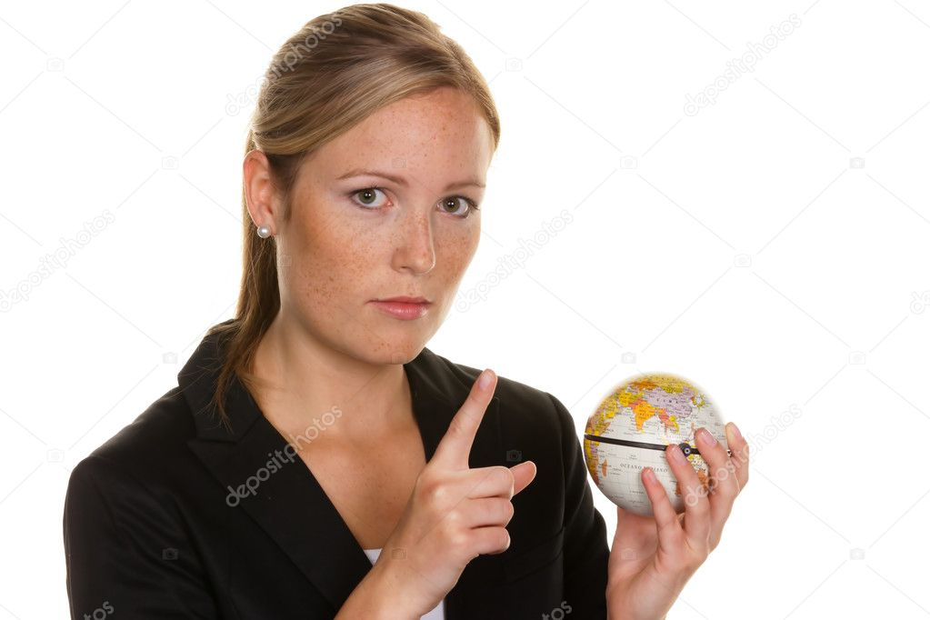 A young woman holding a globe in his hand. photo icon for tourism and travel environment — Stock Photo #8191016