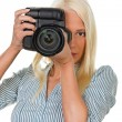 Foto Stock: Young girls with digital camera