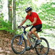 Senior with mountain bike bicycle - Stock Photo
