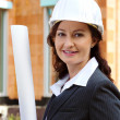 Architect with plan on construction site — Stock Photo #8267092