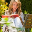 Stock Photo: Woman reading a book in the garden