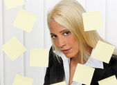 Women with post-its many tasks — Stock Photo