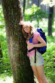 Woman in nature while hiking — Stock Photo