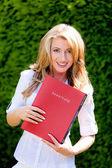 Woman with application portfolio for work — Stock Photo
