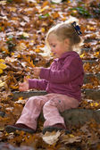 Child with leaves — Stock Photo