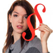 Young woman with a paragraph symbol — Stock Photo #8271611