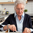 Breakfast of a senior citizen — Stock Photo