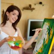 Young girl painting on an easel — Stock Photo #8271640