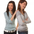 Women are angry and offended when arguing — Stock Photo