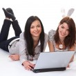 Young women are working on a laptop — Stock Photo #8271869