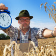 Farmer with clock 11:55 — Stock Photo #8282880
