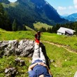 Hikers relax at hike in the mountains — Stock Photo #8282963