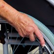Stock Photo: Nurse and old womin wheelchair