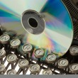 Old typewriter with CD — Foto Stock