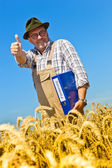 "Farmer with portfolio ""promotion"" on cereal box — Stock Photo"