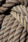 Thick ropes of a ship's rope — Stock Photo