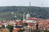 Prague, st. nicholas church and observatory — Stock Photo