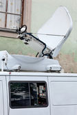Live television broadcast vehicles for reportage — Stock Photo