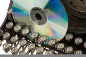 Old typewriter with CD — Foto de Stock