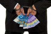 Manager with swiss francs banknotes — Stock Photo