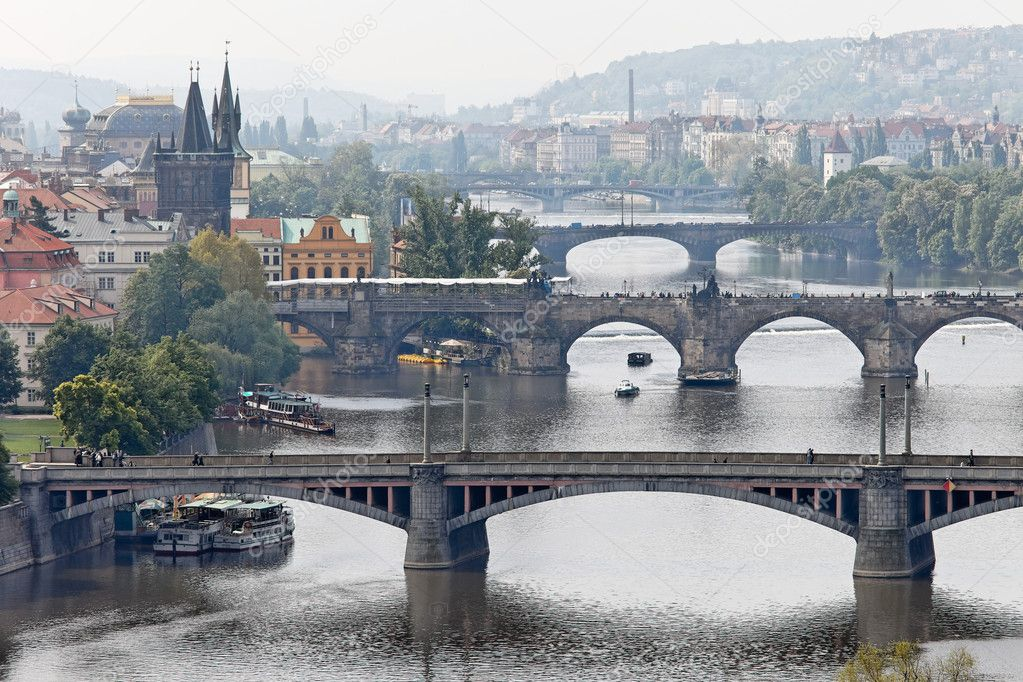 Bridges over the vltava river in prague, czech republic — Stock Photo #8289825