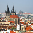 Prague, city and skyline view from the powder tower — Stock Photo