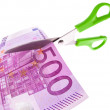 Euro banknotes and scissors — Stock Photo #8290486