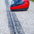 Accident with a motorcycle. traffic accidents with skid marks on — Stock Photo