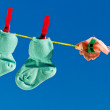 Baby socks on clothesline — Stock Photo #8290653
