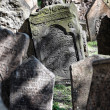 Grave stones at the jewish cemetery in prague — Stock Photo